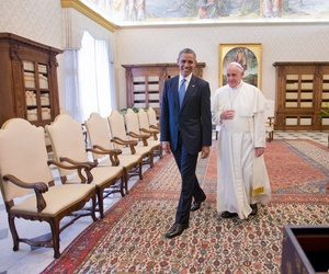 US President Barack Obama with Pope Francis, March 27, 2014 at the Vatican.