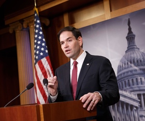 Sen. Marco Rubio, R-Fla., speaks to reporters during a press conference on Capitol Hill, on December 17, 2014.