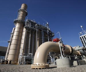 Water pipes lead to the cooling system of the Pacific Gas and Electric's Colusa Generating Station near Maxwell, Calif.