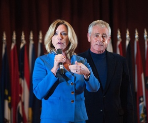 Secretary of the Air Force Deborah Lee James answers a question as Secretary of Defense Chuck Hagel looks on at Minot Air Force Base in Minot, N.D., Nov. 14, 2014.