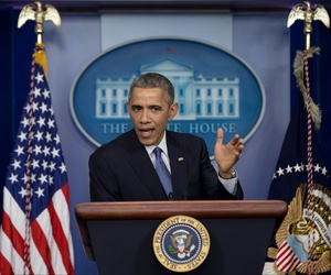 President Obama speaks to reporters during a press conference at the White House, on December 18, 2014.