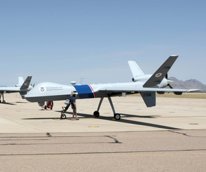 Seen here are unmanned Aircraft belonging to the CBP at an airport.