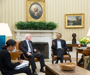 President Obama and national security advisor Susan Rice meet with Sens. John McCain and Lindsey Graham in the White House, on Sept. 2, 2013.