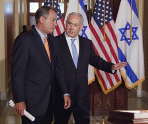 Israeli Prime Minister Benjamin Netanyahu walks with House Speaker John Boehner, on May 24, 2011.