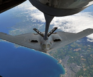 A B-2 Spirit from Whiteman Air Force Base performs an air refueling with a KC-135 Stratotanker from RAF Mildenhall, on June 11, 2014.