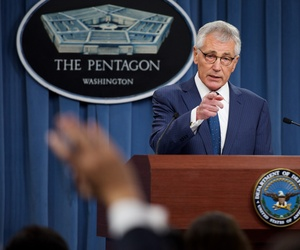 Defense Secretary Chuck Hagel conducts a press briefing at the Pentagon, on January 22, 2015.