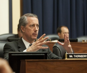Rep. Mac Thornberry, R-Tx., asks a question during a joint hearing of the House Armed Services and Veterans Affairs committees.