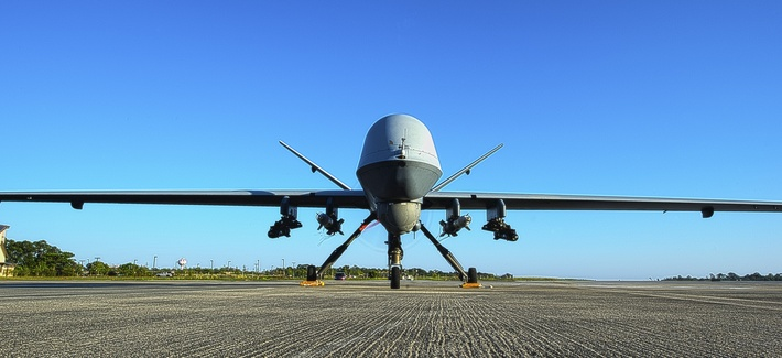 An MQ-9 Reaper sits on the flight line at Hurlburt Field, Fla., on May 3, 2014.