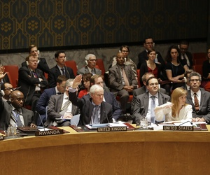 Members of the UN Security Council vote in favor of putting North Korea's human rights situation on the council's agenda during a meeting on Dec. 22, 2014.