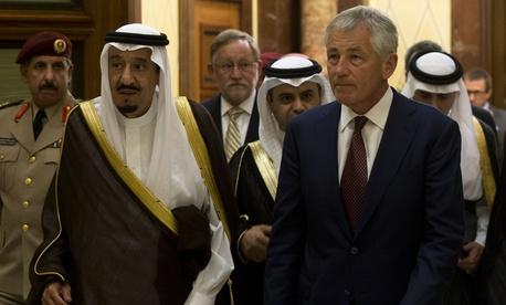 U.S. Defense Secretary Chuck Hagel with then-Crown Prince and Minister of Defense Salman bin Abdulaziz al Saud, in Riyadh in April 2013.