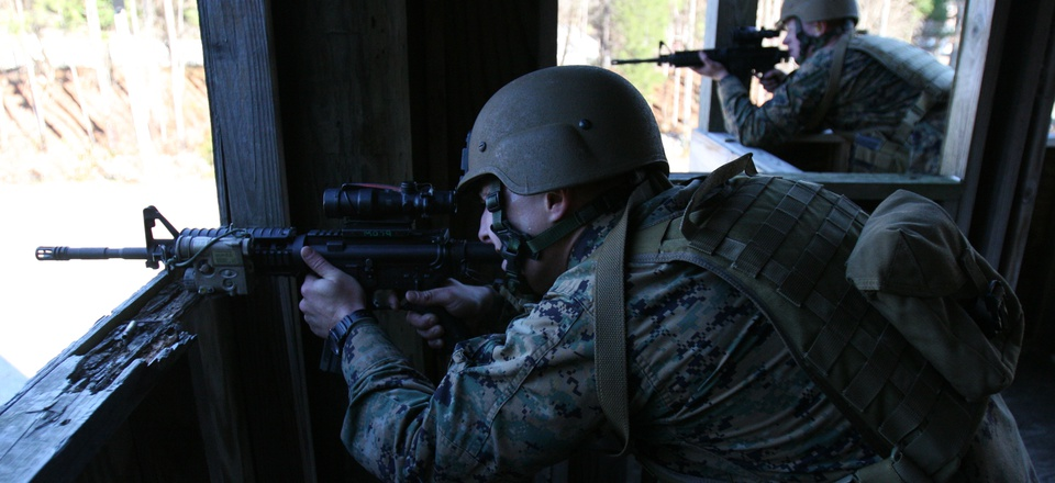 Marines with the Marine Special Operations Support Group fire at targets during the Special Operations Training Course aboard Camp Lejeune, on Dec. 7 2010.