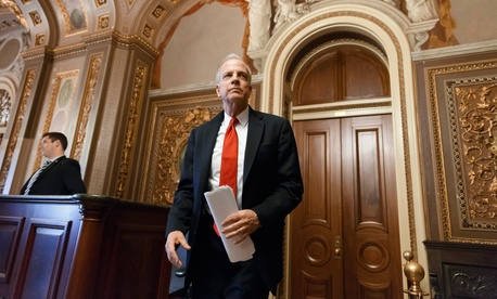 Sen. Jerry Moran, R-Kan., leaves a closed-door GOP caucus luncheon at the Capitol in Washington, Jan. 14, 2014.