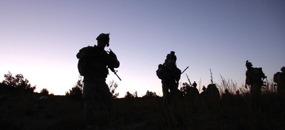 U.S. Army soldiers conduct a night patrol near Sar Howza, Paktika province, on Sept. 4, 2009.