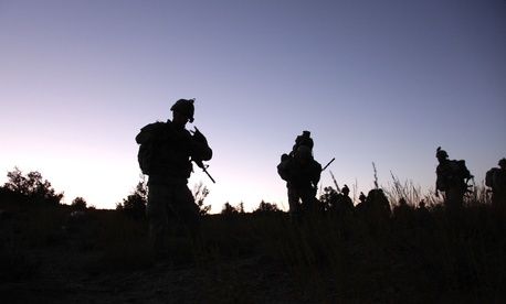 U.S. Army soldiers conduct a night patrol near Sar Howza, Paktika province, on Sept. 4, 2009.