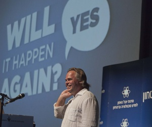 Eugene Kaspersky, the chairman of Kaspersky Lab, speaks at the International Conference on Cybersecurity in Tel Aviv, on June 6, 2012.