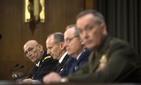 Army Chief of Staff Gen. Raymond Odierno, left, testifies on Capitol Hill in Washington, Wednesday, Jan. 28, 2015, before the Senate Armed Services Committee hearing on the impact of the Budget Control Act of 2011 and sequestration on national security.