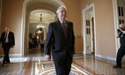 Senate Majority Leader Mitch McConnell, R-Ky., returns to his office on Capitol Hill, on Jan. 29, 2015