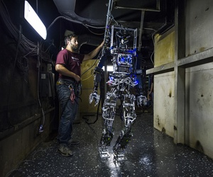 The SAFFiR robot during a Office of Naval Research test  aboard the  ex-U.S.S. Shadwell last November.