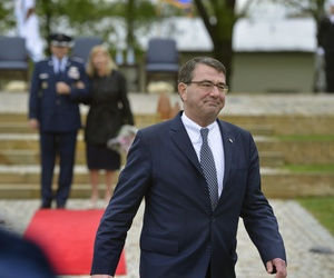 Deputy Defense Secretary Ash Carter departs after presiding over the EUCOM change of command ceremony on May 10, 2013.