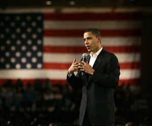 Then Senator BArack Obama, D-Ill., speaks during a town hall meeting on Feb. 21, 2007.