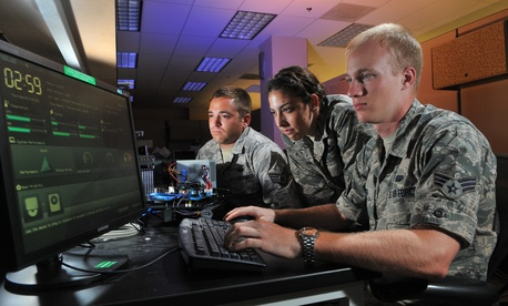 Air Force personnel perform cyber operations at Lackland Air Force Base, Texas.