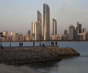 The skyline of Abu Dhabi, in the United Arab Emirates.