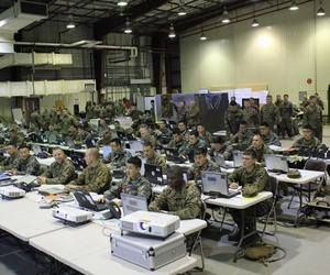 U.S. and Republic of Korea Marines and sailors establish a combined operations center at Daegu Air Base, in Daegu, Republic of Korea.