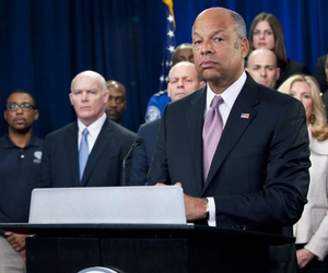 Homeland Security Secretary Jeh Johnson holds a media availability to discuss the importance of keeping DHS open.