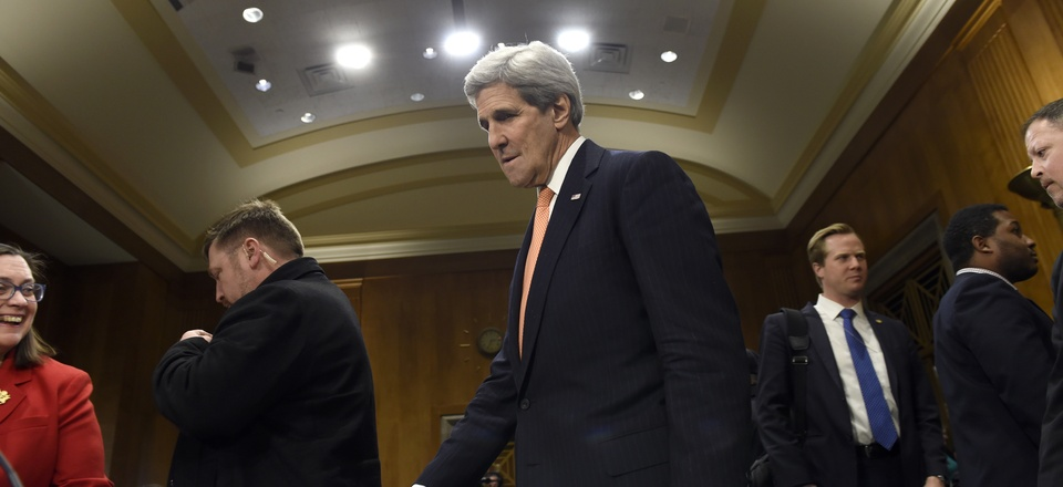 Secretary of State John Kerry arrives on Capitol Hill in Washington, Tuesday, Feb. 24, 2015, to testify before the Senate Foreign Relations Committee.