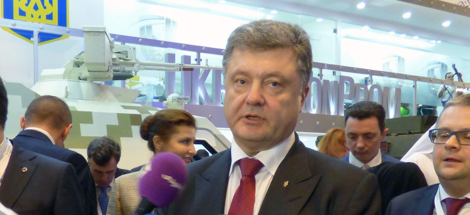 Ukrainian President Petro Poroshenko at the 2015 IDEX arms exposition in Abu Dhabi.