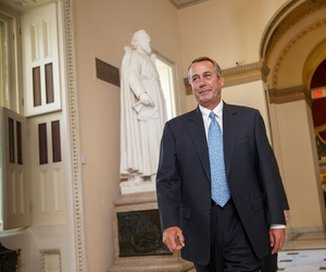 House Speaker John Boehner of Ohio walks to the House chamber on Capitol Hill in Washington, Friday, Feb. 27, 2015, for a procedural vote to avert a partial government shutdown.