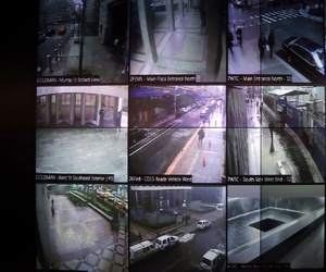 This Tuesday, Feb. 19, 2013 file photo shows part of a wall of surveillance camera video in New York.