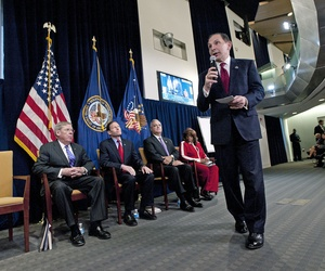 VA Secretary Bob McDonald speaks to employees during a town hall meeting for VA employees in Washington, D.C.