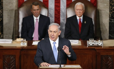 Israeli Prime Minister Benjamin Netanyahu speaks before a joint meeting of Congress on Capitol Hill in Washington, Tuesday, March 3, 2015.