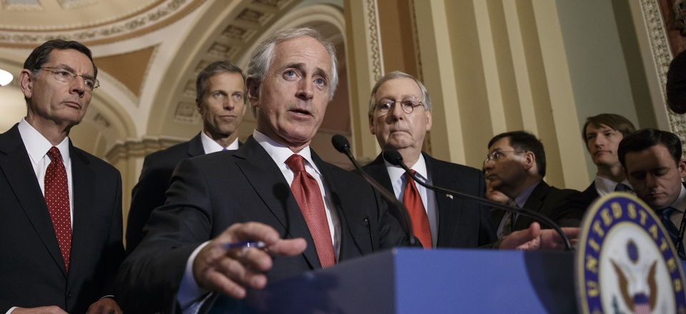 Senate Foreign Relations Committee Chairman Bob Corker, R-Tenn., outlines his bipartisan bill requiring congressional review of any comprehensive nuclear agreement that President Barack Obama reaches with Iran, on Tuesday, March 3, 2015.