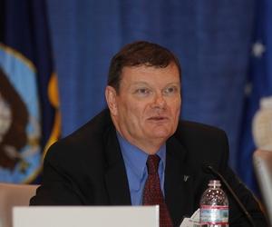 Then Navy CIO Terry Halvorsen speaks during an event at the U.S. Naval Institute.