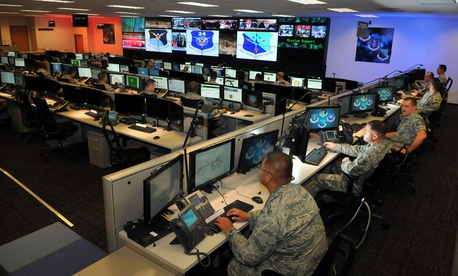 Personnel at the 624th Operations Center at Joint Base San Antonio conduct cyber operations in during exercise Cyber Flag.