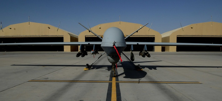 An MQ-9 Reaper with the 62nd Expeditionary Reconnaissance Squadron sits on a ramp at Kandahar Airfield, Afghanistan Aug. 18, 2014. The