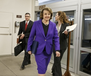 Senate Intelligence Committee ranking member Sen. Dianne Feinstein, D-Calif., arrives to release a report on the CIA's interrogation techniques, on Dec. 9, 2014.