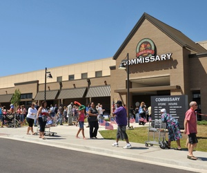 Customers walk past the front of a new commissary at Fort Campbell, Ky.