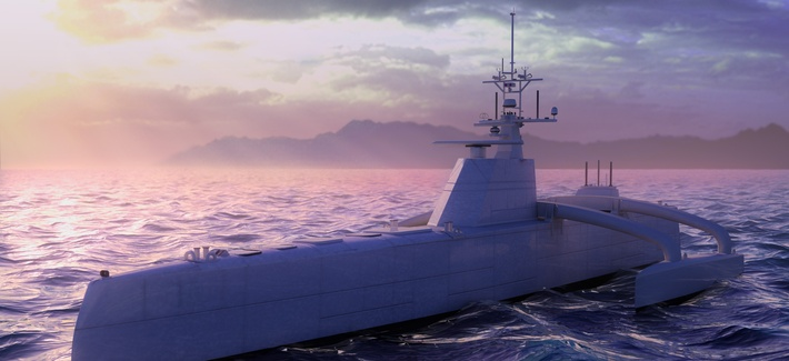 A computer generated model of DARPA's ACTUV ship.