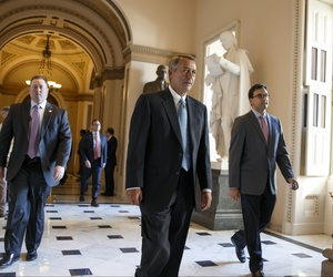 House Speaker John Boehner of Ohio leaves the House chamber on Capitol Hill in Washington, Friday, Feb. 27, 2015.