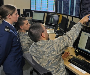 Air Force Academy Cadets take part in a cyber defense activity.