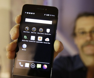 Silicon Valley pioneer and Silent Circle co-founder Jon Callas holds up Blackphone with encryption apps displayed on it at the Computer History Museum in Mountain View, Calif.