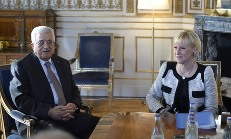 Palestinian President Mahmoud Abbas meets Sweden's Minister for Foreign Affairs, Margot Wallstrom, on February 10, 2015.
