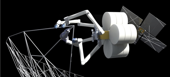 A computer generated model of Tethers Unlimited's SpiderFab technology.