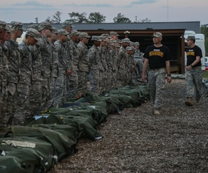 Soldiers conduct a bag drop at the Ranger Training Assessment Course (RTAC) on Fort Benning, Ga., April 3, 2015.