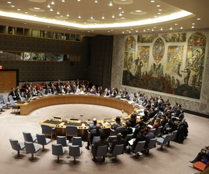 Members of the UN Security Council meet during a session on December 22, 2014, at United Nations headquarters.