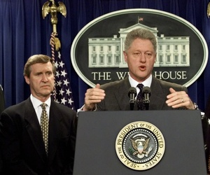 "President Clinton announces that Iraq has ""backed down"" and has agreed to unconditional inspections by UN weapons inspectors during an appearance in the White House briefing room Sunday Nov. 15, 1998."
