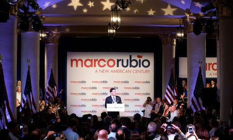 Florida Sen. Marco Rubio at a rally at the Freedom Tower to announce his candidacy for the Republican presidential nomination, April 13, 2015, in Miami.